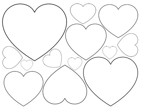 printable shapes big and small printable heart shapes tiny small medium outlines