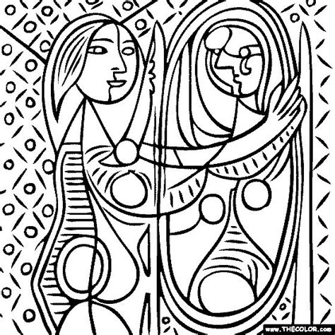 100 free coloring page of pablo picasso painting girl