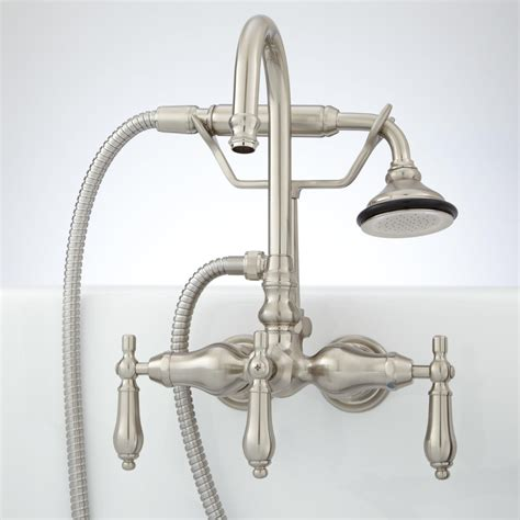 wall mounted bathtub faucets pmcshop pasaia tub wall mount faucet with hand shower lever