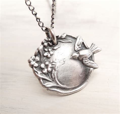 silver clay jewelry of bluebirdss bird necklace blossom necklace pmc