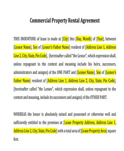 commercial agreement formats templates word