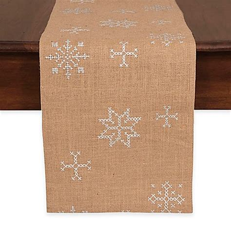 72 inch table runner jute embroidered snowflake 72 inch table runner bed bath