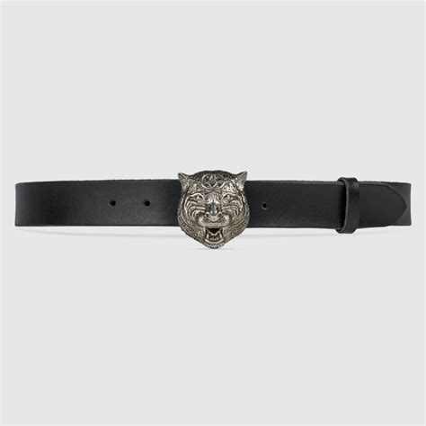 gucci leather belt with feline and exclusive
