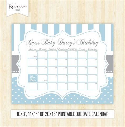 Guess Date guess the date boy printable due date calendar blue baby