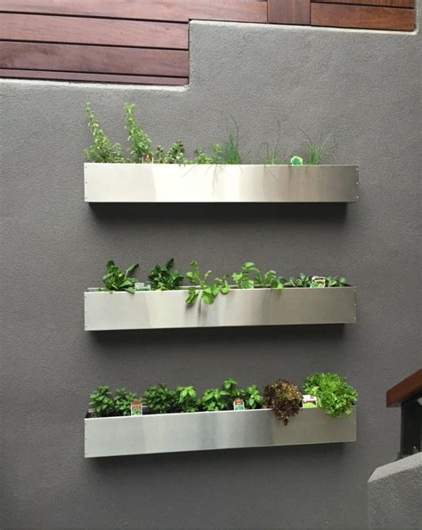 Stainless Steel Planter Box by Floating Stainless Steel Hanging Planter Box Succulent Wall
