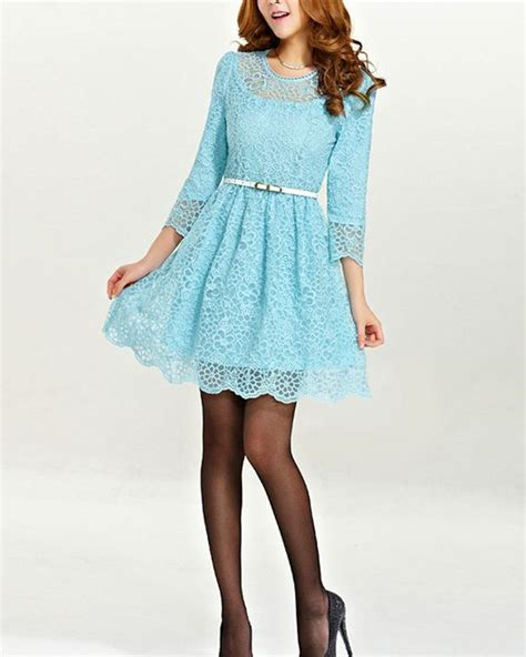 light blue lace dress with sleeves light blue lace mini dress 3 quarter sleeve sleeve by