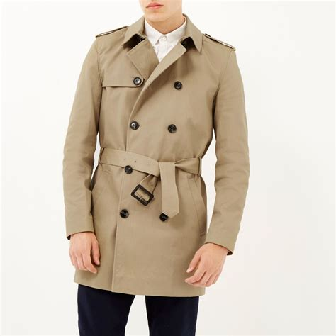Island Trenchcoat by River Island Brown Breasted Trench Coat In