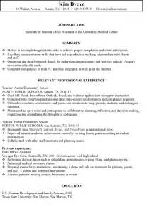 secretarial resume template school resume sle free resumes tips