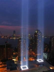 ny lights world trade center 9 11 memorials blue image