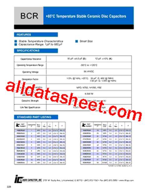 datasheet for capacitor 681bcr050k datasheet pdf illinois capacitor inc
