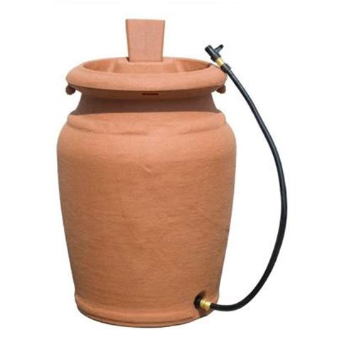 50 gal beige granite urn style barrel with planter