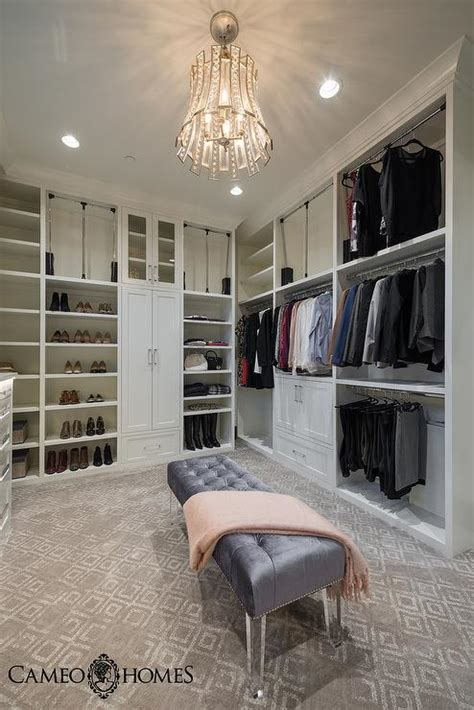 bench in closet light gray closet island with white metallic cowhide rug transitional closet