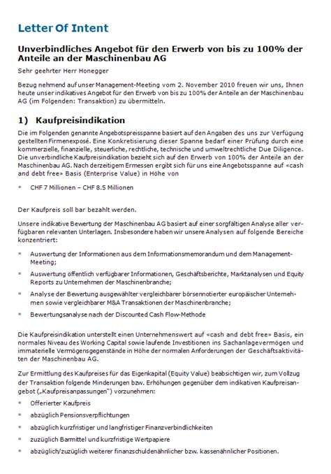 Business Letter Muster letter of intent muster zum