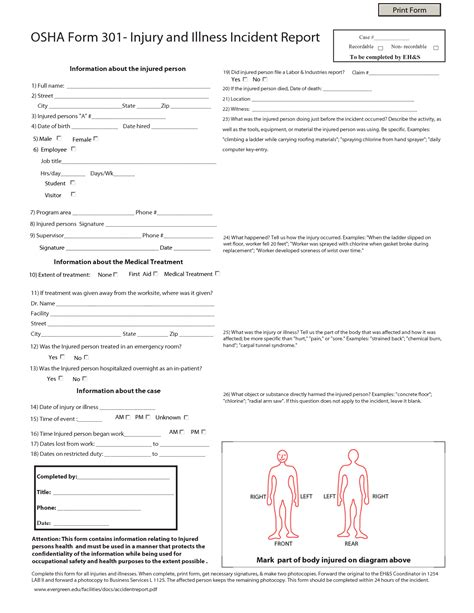 osha incident report form template best photos of injury incident report form template