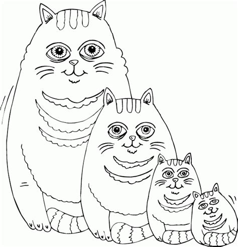 fat cat family coloring page coloring com