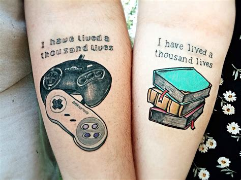 nerd couple tattoos i lived a thousand lives tattoos a book