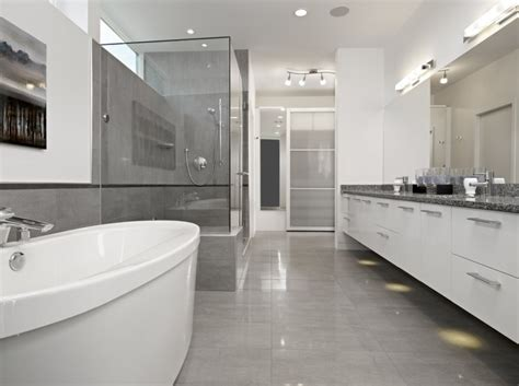 gray floor bathroom contemporary house displaying a neat interior the summit