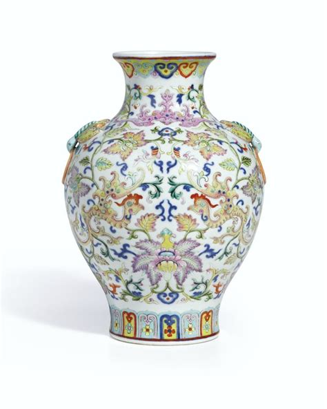 Vase Symbols by A Magnificent Yellow Ground Famille Anbaxian