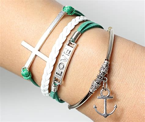 Green charm bracelets cross bracelts and love bracelets anchor bracelet for men and women