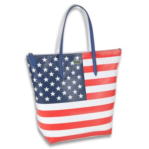 flag bag lacoste usa flag tote bag in blue for lyst