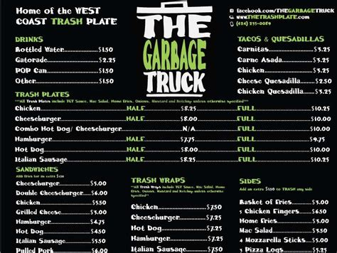 Kitchen La Food Truck Menu the garbage truck food truck los angeles