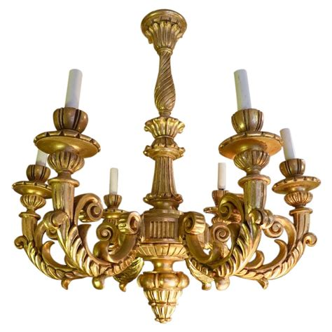 Rococo Chandelier 19th Century Giltwood Rococo Chandelier For Sale At 1stdibs