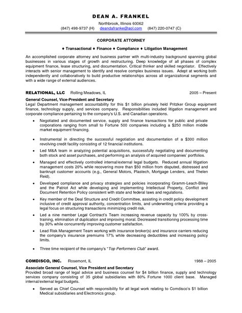 corporate resume sle 28 images 28 corporate paralegal