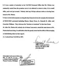 cover letter for removal of conditional status affidavit of vyron e barker of army tacom