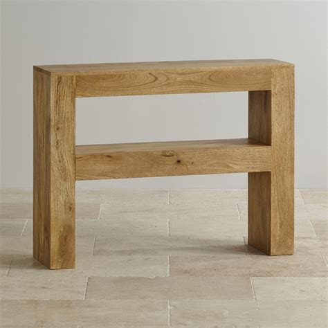 oak console mantis light console table in solid mango oak furniture land