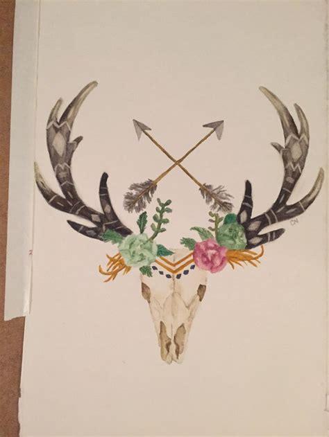 deer watercolor tattoo deer skull with arrows and flowers watercolor deer skull