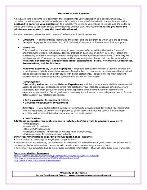 Resume For Graduate Business School Graduate School Admissions Resume Sle Http Www Resumecareer Info Graduate School