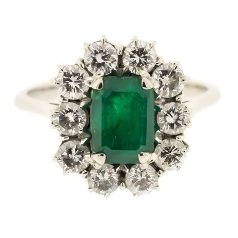synthetic emerald cluster ring