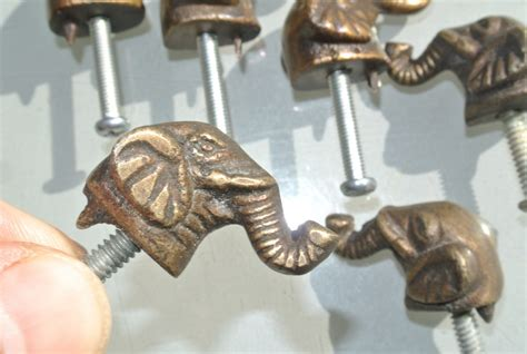 Elephant Drawer Pulls Knobs by 6 Tiny Elephant Shape Pulls Handles Antique Solid Brass