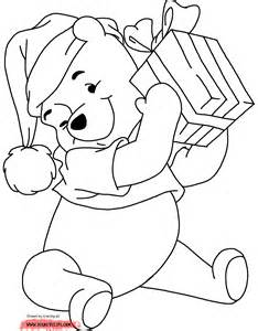 pooh bear christmas colouring pages