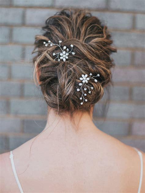 Bridal Flower Hair Pin pearl and rhinestone flower hair pin quot camille quot bridal