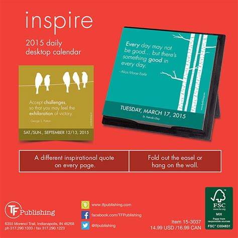 Inspirational Desk Calendar by Inspire 2016 Desk Calendar 9781624382390 Inspirational