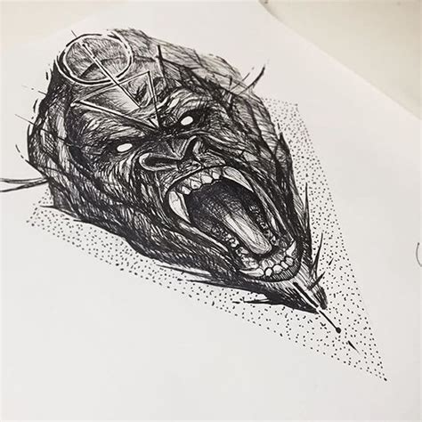 geometric gorilla tattoo sketching and ps on pinterest