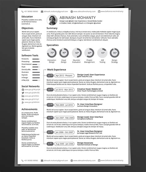 Cv Template Adobe 50 Beautiful Free Resume Cv Templates In Ai Indesign Psd Formats