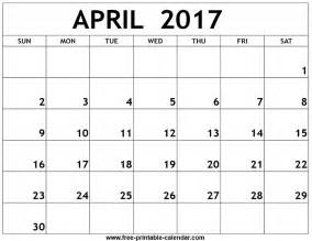 Kalender 2017 April April 2017 Printable Calendar