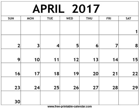April Calendar Template pdf april 2017 printable calendar