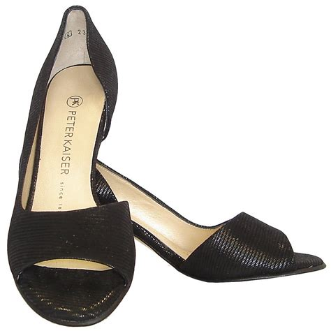 toe shoes kaiser jamala open toe shoes in black lizard suede