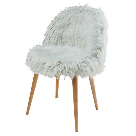 chaise fourrure chaise en fausse fourrure vert clair et bouleau massif