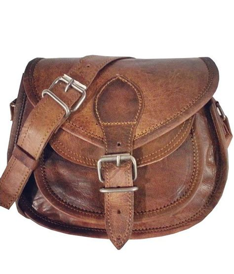 Handmade Sling Bags - buy reyu brown handmade leather sling bag at best prices