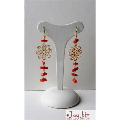 orecchini a fiore orecchini fiore filigrana corallo rosso