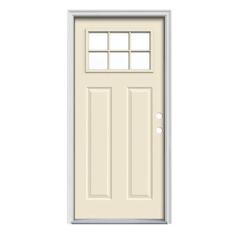 Jeld Wen Exterior Doors Reviews Shop Jeld Wen Craftsman Insulating Craftsman 6 Lite Left Inswing Bisque Steel Painted
