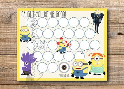 printable reward charts minions kids reward chart minions reward chart printable instant