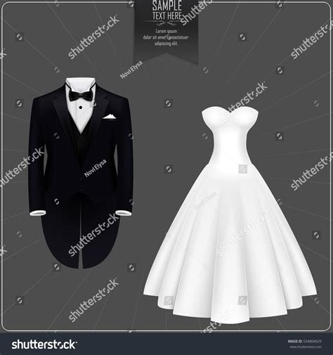 wedding scroll dress and tux card template vector illustration tuxedo bridal gown stock vector
