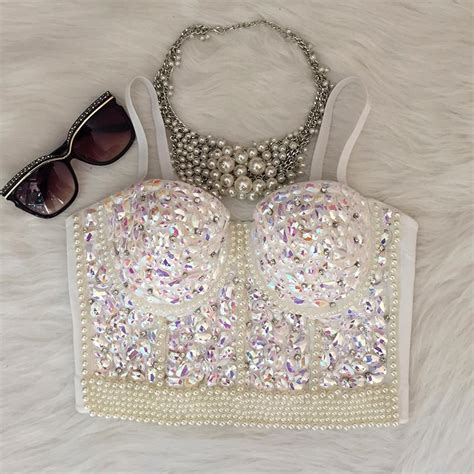 2019 Wholesale Gorgerous Rhinestone Bead Pearls Bustier