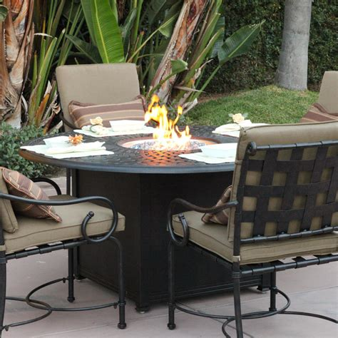 patio furniture set with pit table darlee malibu 5 cast aluminum patio pit dining