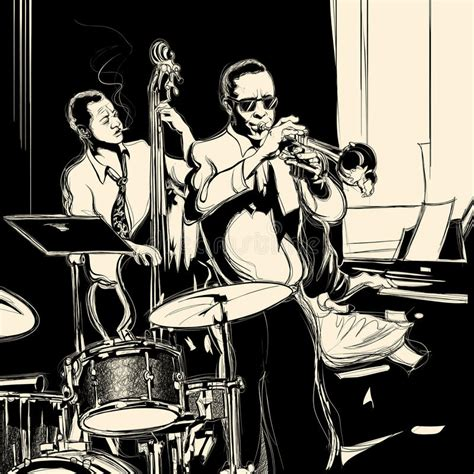 clever no drum and bass in the jazz room jazz band with bass trumpet piano and drum royalty free stock images image 32981329
